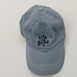 Life is good light blue baseball hat